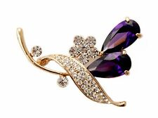 ConMiGo BB00100 A highly elegant brooch with large purple tear drop crystals