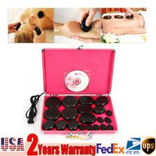 Natural Basalt Stone 20pcs W/Heater Box Massage Stones Therapy Hot Spa Rock Kit