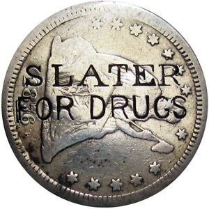 1876-CC Berlin Wisconsin Counterstamp Quarter Slater Druggist Carson City