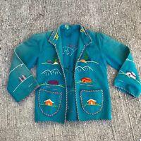 Vintage 40s 50s Felt Wool Jacket Mexican Embroidered Souvenir Tourist Child's