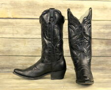 Durango Cowboy Boots Black Leather Mens Size 8.5 D Country Western Steampunk VTG