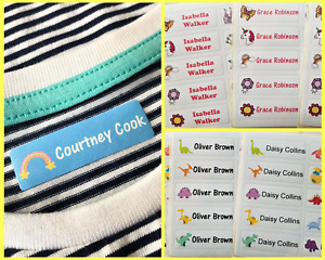 Personalised Iron On Waterproof Name Labels for clothes/ School Name Tags colour