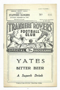 1960/61 Cheshire County League - TRANMERE ROVERS Reserves v. STAFFORD RANGERS