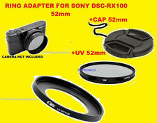 ADAPTER RING+UV FILTER+LENS CAP 52mm TO CAMERA SONY DSC-RX100M2 RX100M3 RX100M4