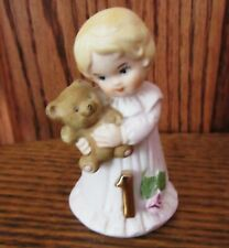 Vintage Enesco Growing Up Birthday Girls Blonde Age 1 Free Shipping !
