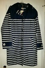 Nwt Boden Raincoat Navy White Stripe Hood Zip Big Buttons Trench 14 R US NEW
