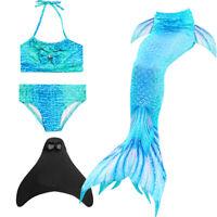Fairy Mermaid Tail Kids Girls Swimming Swimmable Bikini Swimwear for Pool Party