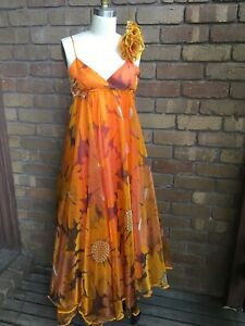 Circa 70s Vintage Prom Dress style Orange Wildflower Full Length sz 6-8