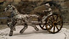 ANTIQUE EARLY UNMARKED CAST IRON HORSE DRAWN SULKY WITH DRIVER