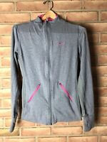 Nike Dri-fit Size SMALL Women's Gray/Pink Full Zip Athletic Jacket w/zip pockets