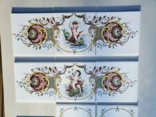 Vintage Ceramic Tile Sets Putti Dolphin Cherub Shell Mythology Made England 6x6