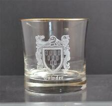 """Vintage Clear Glass Etched Comder Gold Gilt Rim Flat Tumbler Low Ball 3 3/4"""" R32"""