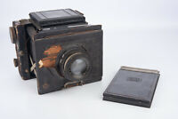 Zeiss Ikon Miroflex B 859/7 9x12cm Folding Camera w Tessar 165mm Lens AS IS V10