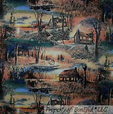 BonEful Fabric FQ Cotton Quilt Scenic Log Cabin House Tree Sunset Lake Fish Hunt