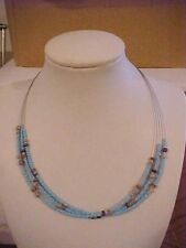 Turquoise Necklace Glass Bead Choker Wood Bead Triple Strand Adjustable 15 to 18