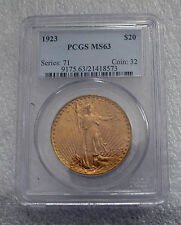 USA 20 GOLD DOLLARS COIN, SAINT- GAUDENS 1923   MS-63 BY PCGS