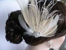 Ivory Feather & Crystal Hair Fascinator, Bridal, Wedding (Sparkle-1794-U)