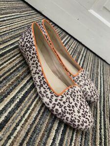 Clarks Faux Pony Hair Leopard Print Size 5.5 Ballet Pumps Flats