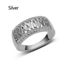 Sterling Silver Ring Grandma Letter Diamond Ring Jewelry Family Birthday Gifts
