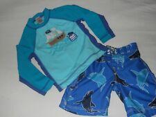 Gymboree Boy's Size 3T Swim Trunks and Matching Rashguard Top