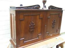 Antique Carved Aust, Cedar Church Communion Cupboard w Silver Hardy Bros Sydney