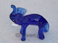 ELEPHANT FIGURINE BLUE GLASS ORNAMENT@Collectable Wild JUNGLE Animal Gift@TRUNK