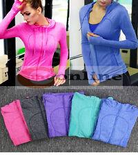 Women's Training Fitness Gym Long Sleeve Jacket Zip Hoodie Seamless Quick Dry
