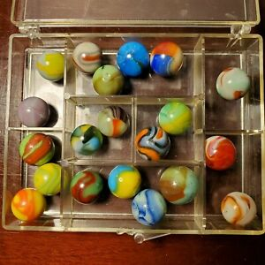 """Lot of 20 Assorted Vintage Marbles Peltier MFC Akro Vitro CAC .60"""" - .72"""""""