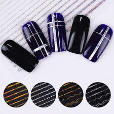 Etiqueta engomada del clavo 3D calcomanías líneas de onda tira de transferencia holographicss Nail Art Decor