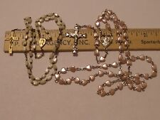 VINTAGE 2 ROSARY LOT WHITE BEADS BRASS CRUCIFIX & OTHER PINK HEART BEADS