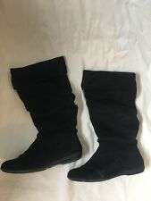Nine West Sz 10 Womens SwiperL1 Black Knee High Slouch Suede Boots