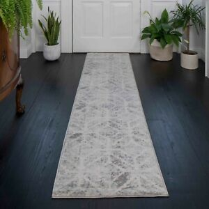 Grey Transitional Distressed Rug for Hallway Runner Mats Small Large Silver Rugs