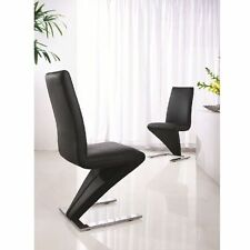 Set of 2 Deluxe DESIGNER Leather Chrome Z Dining Living Room Chairs - Black
