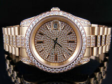 Unisex Rose Gold Finish Simulated Diamond Presidential Watch 41MM PR-01