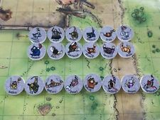 5E D&D Player Character Lot of 20 wooden disk 2D miniatures tabletop RPG Fantasy