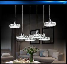 LED Pendelleuchte Hängeleuchte 6042 6fl Kristall klar chrom 3 Modus mit FB A+