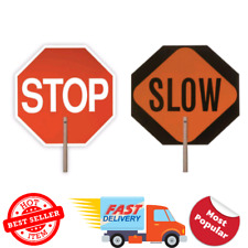 "18"" Handheld Stop Slow Paddle Signage Octagon Pedestrian Traffic Safety Sign"