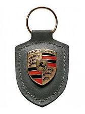 GENUINE Porsche Leather Crest Key Fob Grey Keyring chain ring #WAP0500970H