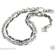 "DK 2 Roof Basic Skull Biker Trucker Key Jean Wallet Chain CS29 (25.5"") Silver"
