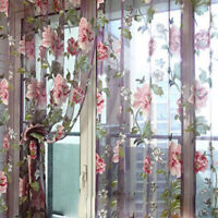 Romantic Floral Tulle Voile Door Window Curtain Drape Panel Sheer Scarf Valances