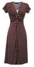 New Ladies Retro WW2 Victory 1940s Wartime Wine Polka Dot Tea Dress