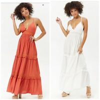 Forever 21 Cream/ Rust  Crochet Paneled Maxi Dress Medium M