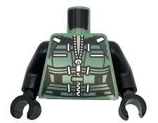Lego New Minifigure Sand Green Torso Female Armor Straps Metallic Silver Zipper