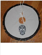 "LACY SKULL Embroidered Tree Skirt, Lamp Skirt 26""dia,Halloween,Prim,Fall,Goth"