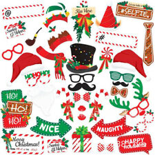 38PCS Christmas Photo Booth Props Xmas Party Beard Selfie Instagram Santa Claus