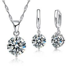 925 Sterling Silver Cubic Zirconia Solitaire Jewelry Set Earrings & Necklace CZ