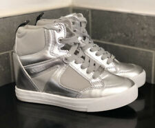 GUESS SILVER CHROME WEDGE PLATFORM LACE UP HI-TOP TRAINERS SIZE 5 / 38