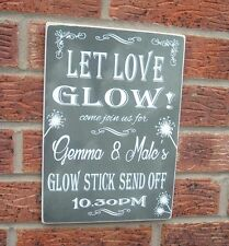 Wedding Sparkler Signs glow stick personalised sign shabby vintage chic plaque