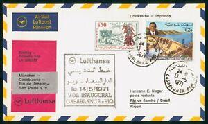 MayfairStamps Lufthansa 1971 Morocco First Flight Cover Casablanca to Rio de Jan