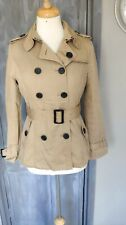 Burberry Brit Lite Brown PeaCoat Jacket with Belt Size M *VGC*